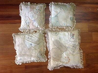 4 old pillows made from doilies