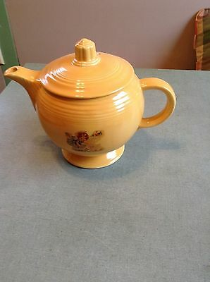 vintage fiesta yellow medium teapot with decal of Mary had a little lamb