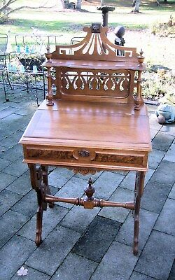 Victorian Walnut Slant Lid Writing Desk Carved Gallery G P Mull Zanesville Ohio