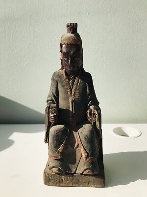 Orient Antique Chinese Wood carving Taoist priest, 18th Century or early .