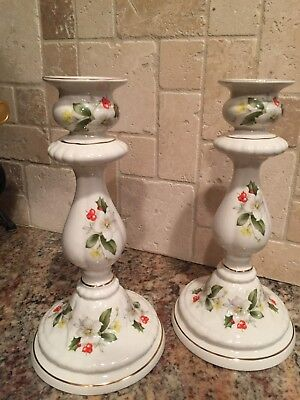 """Royal Crown Staffordshire {2} 9"""" Candle Stick Holders -  England  - 1983"""