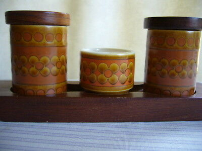 Vintage Retro Hornsea Pottery Saffron Salt Pepper And Mustard Trio On Stand 1977