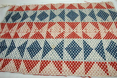 Antique Blue Red Americana Woven Coverlet Piece Nice 18 x 23