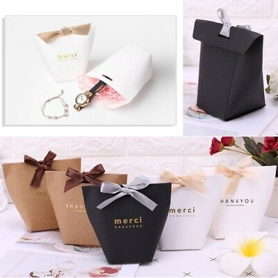 5Pcs merci beaucoup Paper Candy Chocolate Cake Boxes Wedding Favors Gift Bag