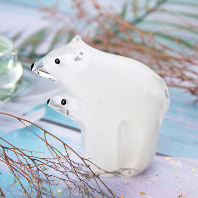 Crystal Figurine Hand Blown Glass Polar Bear 'Mom and Son' Art Decor Xmas Gift