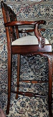 Authentic Antique Mahogany Chippendale Highchair! Stunning Christmas Gift! NR