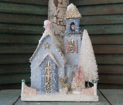 Cody Foster LARGE Putz ~FROSTED BLUE ADOBE~ CHURCH ~ Brand New!