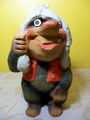 Vintage Rare Henning Hand Carved Wooden Troll Made In Norway