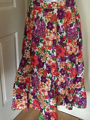 Retro Target Floral Cotton Full Circle Skirt