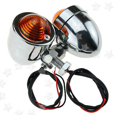 2x Motorcycle Universal Chrome Bullet Bulb 12V Turn Signal Indicator Amber