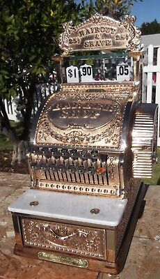 317 brass cash register BARBER SHOP breast plate Haircut and Shave top sign red