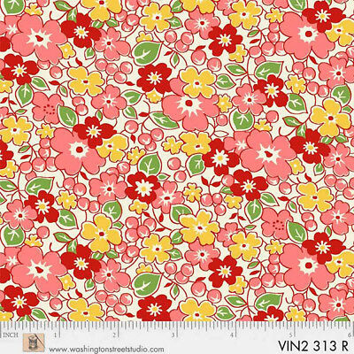 P&B Textiles Washington Street Vintage 30's Florals Red Flower Garden