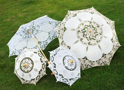 1pc Lace Embroidered Sun Parasol Umbrella Bridal Wedding Dancing Party Photo