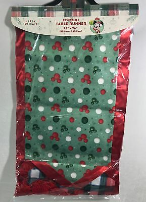 Disney Parks Reversible Mickey Mouse Christmas Table Runner