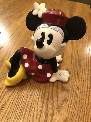 Retired Disney Minnie Mouse Ceramic Bank By Enesco Sitting Red Dress