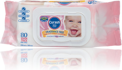 NEW Curash Fragrance Free Baby Wipes 80s