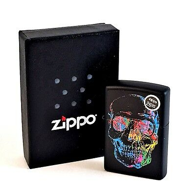 BRAND-NEW Zippo Black Matte Colorful Skull Windproof Lighter In Box, #28042