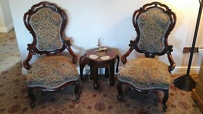 Antique Pair Victorian mahogany Spoon Backed Armchairs 19th Century