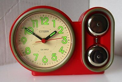 Wonderful Red Plastic Battery Alarm Clock from CITIZEN