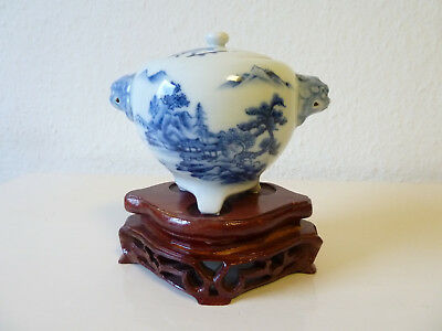 japanese porcelain Hirado koro blue/white with lion head handles japan china