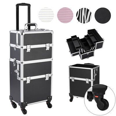 Rolling Makeup Case Aluminum Hair Stylist Trolley 4 Universal Wheels Organizer