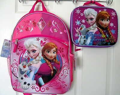 NWT Official Disney ELSA ANNA OLAF FROZEN Full Size Backpack & Lunch Tote Low Sh