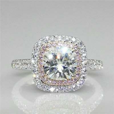 Certified 3.10ct White Cushion & Pink Round Diamond Halo Ring in 14K White Gold