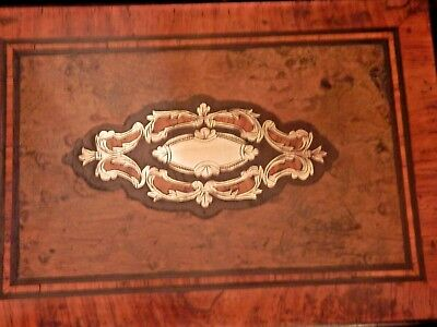 Antique French Napoleon III ornate box inlaid with exotic woods & brass.