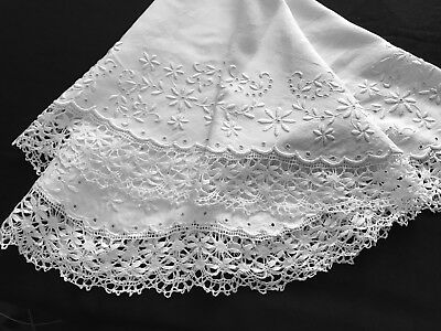 """Antique Lovely Hand Embroidered Round Tablecloth Bobbin Lace Hem 37"""" Diameter"""