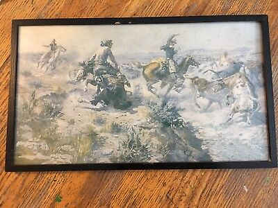 Vintage C. M. Russell Cowboy Signed Print CATTLE DRIVE Framed Western Americana
