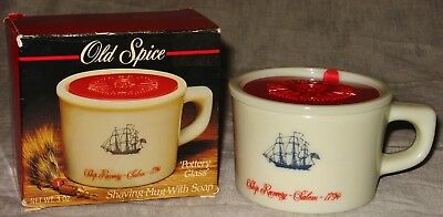 Vintage Old Spice Shave Mug w/Soap - Pottery Glass Made In Belgium Shulton #3700