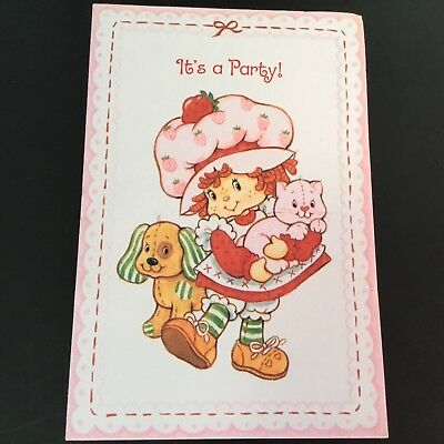 Vintage (Unused) Birthday Invitation, Strawberry Shortcake, AGC