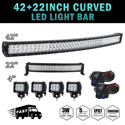 """42Inch LED Light Bar Curved+ 22in +4"""" CREE PODS OFFROAD SUV 4WD ATV FORD JEEP 40"""