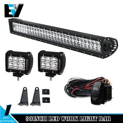 30inch 660W CREE LED Work Light Bar Spot Flood Offroad Driving Lamp For JEEP SUV
