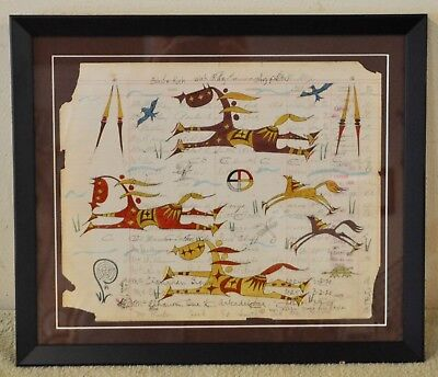 Horse Dayt/ Native American Ledger Art by Lakota Artist Sonja Holy Eagle