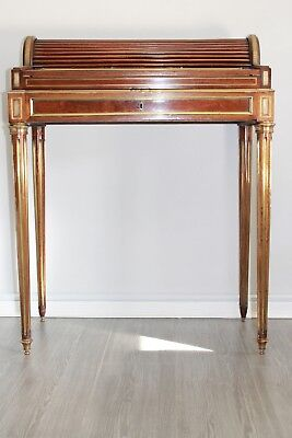 Antique French Louis Xvi Style Brass Moulded Mahogany Writing Table