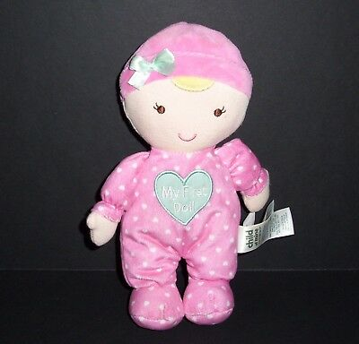 Carters Child of Mine Plush My First 1st Doll Baby Pink Polka Dot Heart Plush