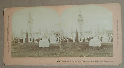 ***vintage 1901 Pan American Exposition Electric Tower & Fountains Stereoview**
