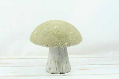 """Vintage 8.5"""" Tall Cement Mushroom Garden Art Concrete Statue Perfectly Aged"""