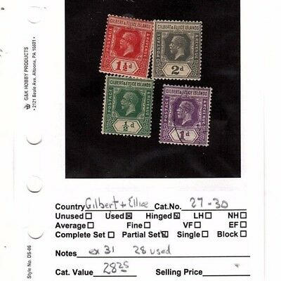 Gilbert and Ellice lot of   4 stamps    27-30  MH .. 28 is used  (mb8