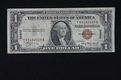 $1 HAWAII 1935A Brown Seal Silver Certificate Y69182015B, one dollar, FREE SHIP.