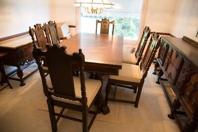 ANTIQUE JACOBEAN STYLE DINING ROOM SET W/SIDEBOARD & BUFFET-circa 1930-FABULOUS!