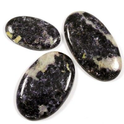 126.30 cts Natural Purple Lepidolite Gemstone Oval Cabochon 3 Pcs Wholesale Lot