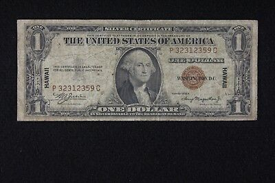 $1 HAWAII 1935A Brown Seal Silver Certificate P32312359C, one dollar, FREE SHIP.