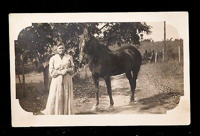 Early RPPC Real Photo Postcard Woman w Horse