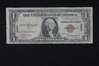 $1 HAWAII 1935A Brown Seal Silver Certificate S45882973C, one dollar, FREE SHIP.
