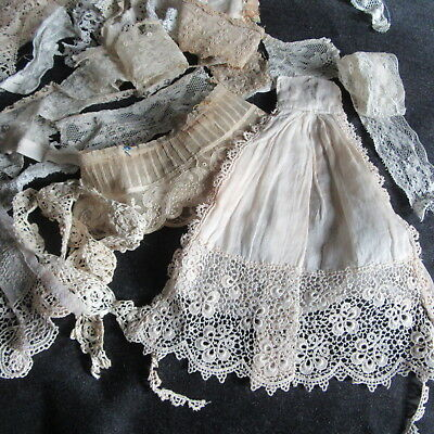 LOT ANTIQUE LACE TRIM TULLE IRISH CROCHET FRENCH VAL DOLL clothing COSTUMER MIX
