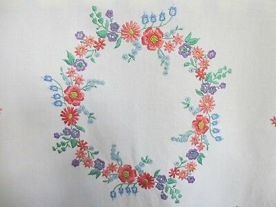 Beautiful Vintage Hand Embroidered Linen Tablecloth, Stunning FLORAL Centrepiece