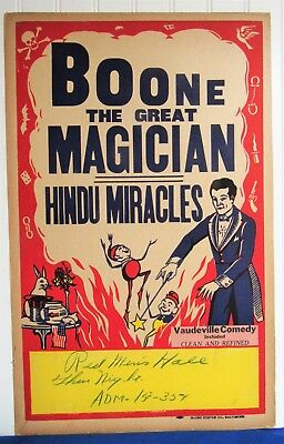 Antique 1930's BOONE THE GREAT MAGICIAN~HINDU MIRACLES~VAUDEVILLE COMEDY Poster