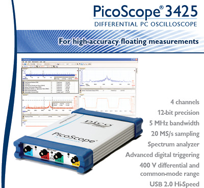 USB Digital Oscilloscope - Four Differential Input Channels - PicoScope 3425